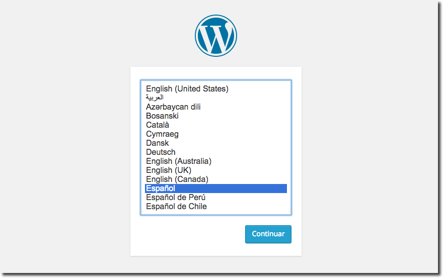 Install WordPress 4 in your language