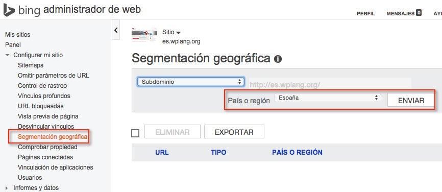 Segmentación geográfica Herramientas webmasters Bing