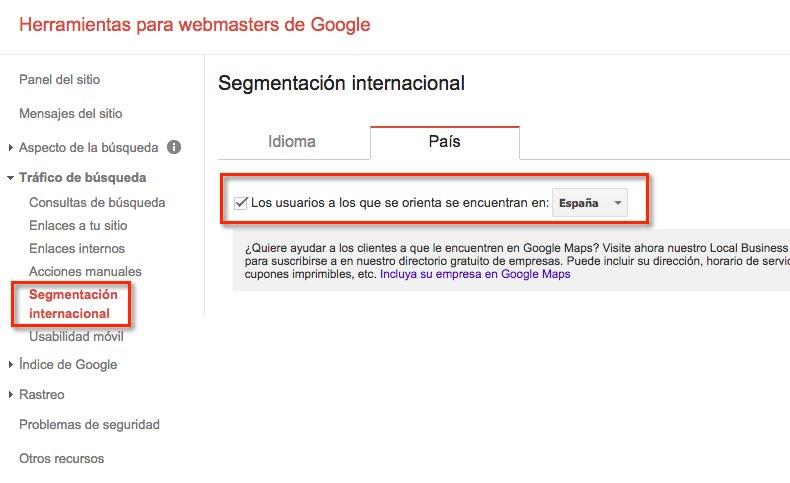 Segmentación internacional Herramientas webmasters Google