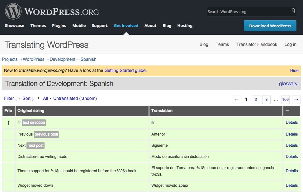 Translation WordPress core PO files
